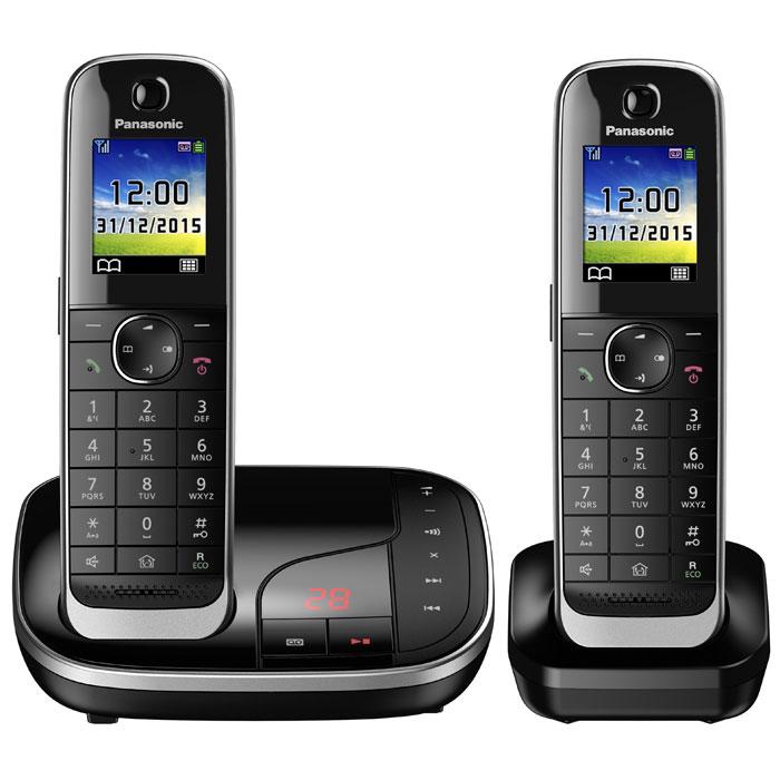 Panasonic KX-TGJ322RUB DECT-телефонKX-TGJ322RUBPanasonic KX-TGJ322RUB - цифровой беспроводной телефон c автоответчиком и двумя трубками. Серебристая рамка и глянцевая поверхность корпуса придают устройству роскошный вид. Увеличенная емкость батареи обеспечивает максимальную продолжительность работы в режиме разговора в течение 15 часов, поэтому вы сможете говорить дольше. Кроме того, в режиме ожидания трубка может находиться вне базы без подзарядки в течение 10 дней. В случае отключения электричества питание базового блока осуществляется от аккумулятора трубки. Отсутствие электричества не сможет помешать вам сделать важные звонки. Вы можете заблокировать любой выбранный номер, а также любые последовательности чисел (от 2 до 8 цифр), совпадающие с номерами, внесенными в черный список. Канал связи между беспроводной трубкой и базовым блоком зашифрован, а ключ шифрования периодически меняется для поддержания высокого уровня безопасности. Беспроводная трубка передает...