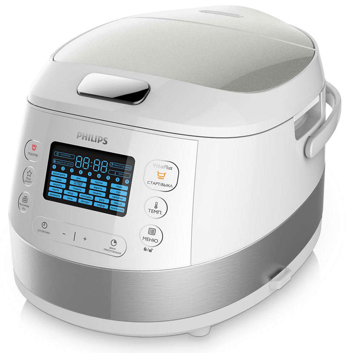 Philips HD4734/03, White мультиваркаHD4734/03Новая мультиварка Philips HD4734/03 раскрывает всю пользу ингредиентов благодаря усовершенствованной технологии нагрева блюда. Функция Мой рецепт позволяет легко сохранять выбранные настройки для повторного приготовления любимых блюд и обработки ингредиентов. Усовершенствованная технология нагрева для обработки ингредиентов служит для приготовления различных блюд, а равномерное распределение тепла достигается благодаря технологии 3D-нагрева. 22 автоматических предустановленных программы с оптимальными настройками температуры и нагрева обеспечивают превосходные результаты при обработке ингредиентов и приготовлении различных блюд. Удобный в программировании таймер отсрочки старта до 24 часов позволяет готовить блюда к заданному времени. Внутреннюю чашу можно мыть в посудомоечной машине. Philips HD4734/03 - здоровое питание каждый день. УВАЖАЕМЫЕ КЛИЕНТЫ! Обращаем Ваше внимание на тот факт, что объем чаши указан максимальный, с учетом полного...