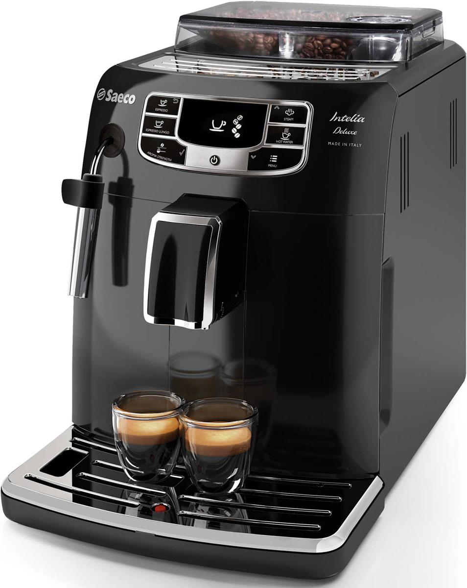 Philips HD8887/19 Saeco Intelia Deluxe, Black кофемашинаHD8887/19Philips HD8887/19 — интеллектуальная и удобная в использовании кофемашина, которая готовит великолепный кофе высочайшего качества. Элегантный дизайн корпуса неподвластен времени. Надежные 100% керамические жернова гарантируют наслаждение отличным кофе в течение долгих лет. Керамика обеспечивает идеальный помол зерен, благодаря чему вода равномерно проникает в них, впитывая вкус и аромат. В отличие от обычных, керамические жернова не перегревают зерна и устраняют жженый привкус напитка. Классический капучинатор создан для тех, кто хочет почувствовать себя настоящим бариста. С помощью классического капучинатора вы за считаные секунды сможете создать украшение для любимого напитка — нежную молочную пену. Благодаря быстрому нагреву бойлера нет причины отказывать себе в чашке превосходного эспрессо или капучино, даже если вы спешите на важную встречу. Секрет заключается в легком корпусе бойлера, выполненном из алюминия и нержавеющей стали, который быстро нагревается до высокой...