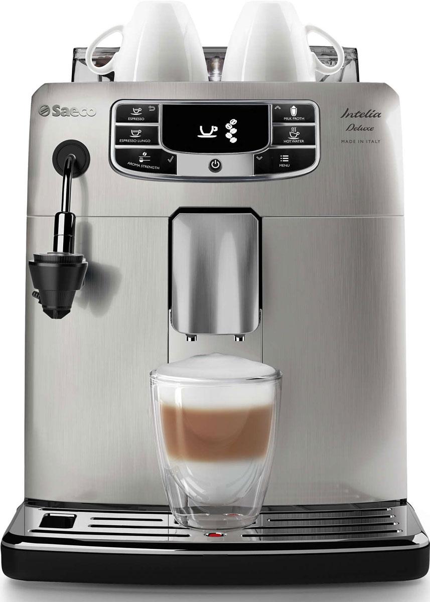 Philips HD8888/19 Saeco Intelia Deluxe, Silver кофемашинаHD8888/19Philips HD8888/19 Saeco Intelia Deluxe — интеллектуальная и удобная в использовании кофемашина, которая готовит великолепный кофе высочайшего качества. Элегантный дизайн корпуса из нержавеющий стали неподвластен времени. Надежные 100% керамические жернова гарантируют наслаждение отличным кофе в течение долгих лет. Керамика обеспечивает идеальный помол зерен, благодаря чему вода равномерно проникает в них, впитывая вкус и аромат. В отличие от обычных, керамические жернова не перегревают зерна и устраняют жженый привкус напитка. Благодаря автоматическому капучинатору вы сможете простым нажатием кнопки приготовить превосходную молочную пену, которая станет венцом вашего кофейного творения. За считанные секунды готовится нежная молочная пена идеальной консистенции — настоящий соблазн для любителей капучино. Благодаря быстрому нагреву бойлера нет причины отказывать себе в чашке превосходного эспрессо или капучино, даже если вы спешите на важную встречу. Секрет заключается в...