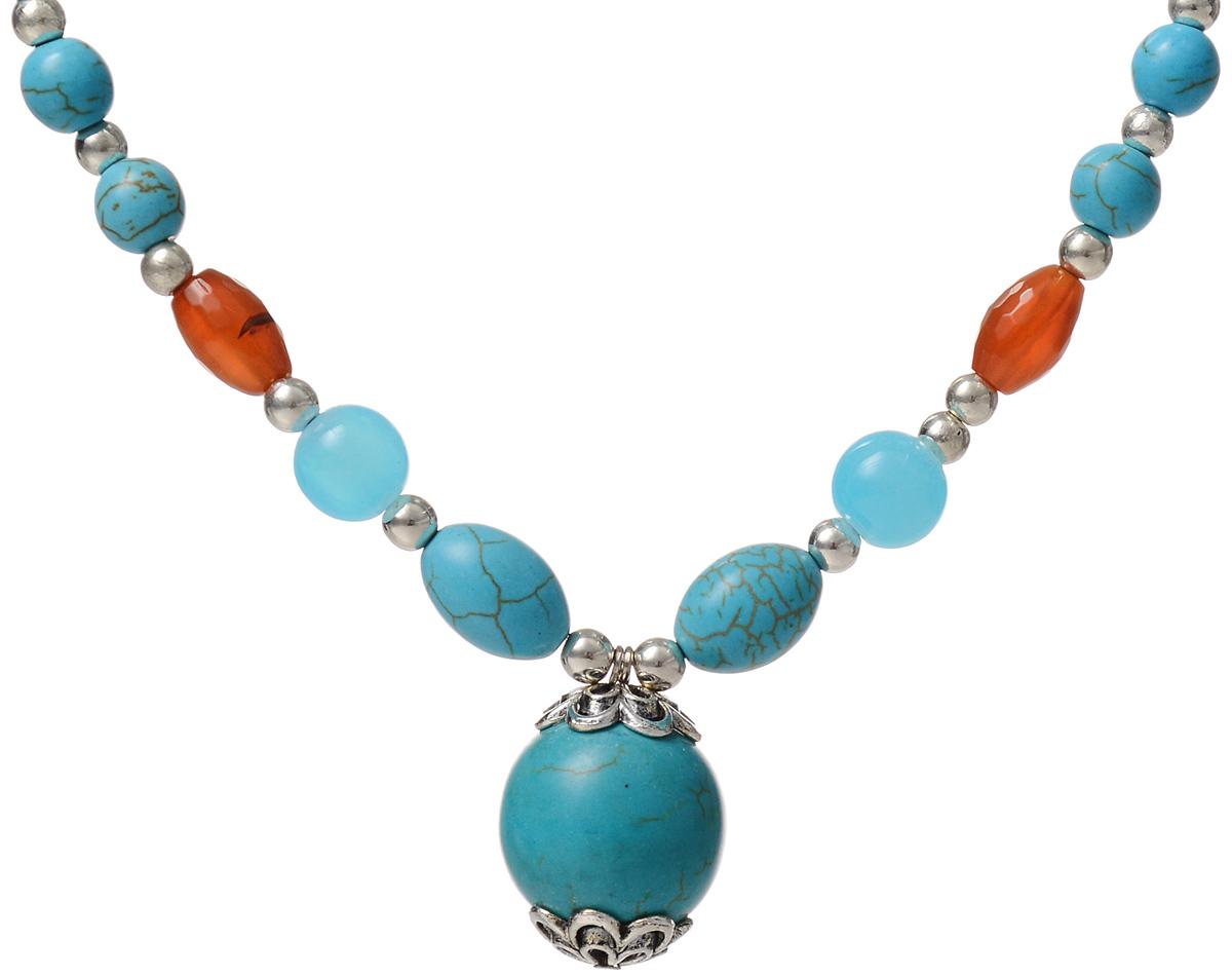 Колье Fashion House, цвет: серебряный, бирюзовый, голубой, коричневый. FH30058