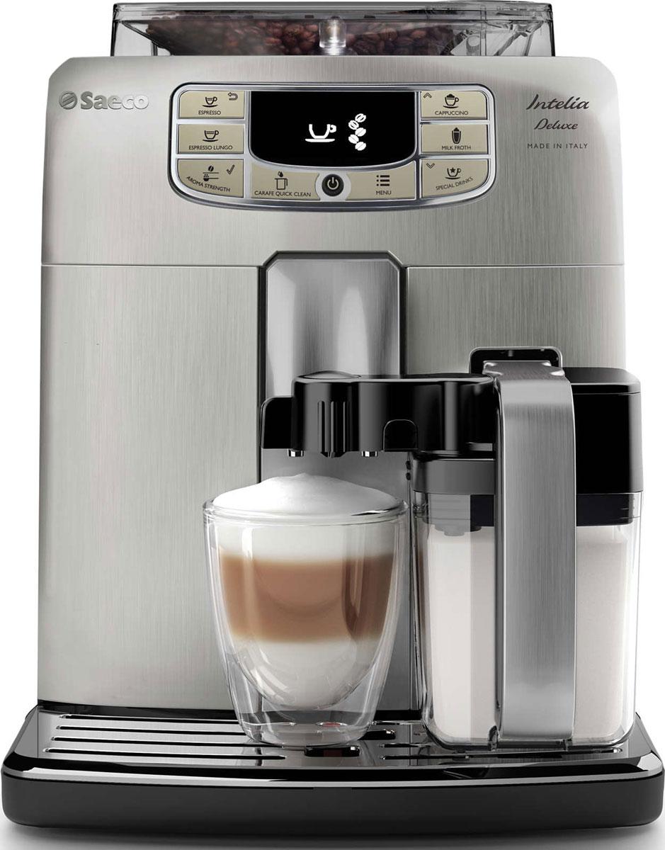 Philips HD8889/19 Saeco Intelia Deluxe, Silver кофемашинаHD8889/19Philips HD8889/19 Saeco Intelia Deluxe — интеллектуальная и удобная в использовании кофемашина, которая готовит великолепный кофе высочайшего качества. Элегантный дизайн корпуса из нержавеющий стали неподвластен времени. Надежные 100% керамические жернова гарантируют наслаждение отличным кофе в течение долгих лет. Керамика обеспечивает идеальный помол зерен, благодаря чему вода равномерно проникает в них, впитывая вкус и аромат. В отличие от обычных, керамические жернова не перегревают зерна и устраняют жженый привкус напитка. Каждый напиток будет украшен нежной молочной пенкой, которая идеально дополнит вкус кофе. Кувшин для молока дважды взбивает молоко и подает сливочную пенку прямо в чашку без разбрызгивания и при оптимальной температуре. Вы можете хранить кувшин в холодильнике и мыть в посудомоечной машине для поддержания идеальной чистоты. Благодаря быстрому нагреву бойлера нет причины отказывать себе в чашке превосходного эспрессо или капучино, даже если вы...
