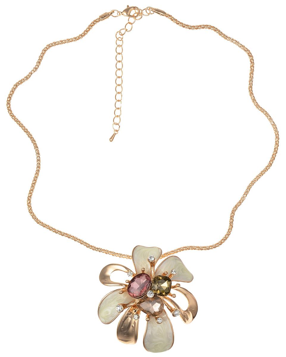 Колье Fashion House, цвет: золотистый, белый, розовый, коричневый. FH32193FH32193Стильное колье не оставит равнодушной ни одну любительницу модных и необычных украшений. Колье представляет собой цепочку, декорированную подвеской в виде оригинального цветка. Подвеска выполнена из металла и покрыта эмалью и декорирована стразами и камнями разных цветов. Колье имеет надежную застежку-карабин с регулирующей длину цепочкой. Такое украшение позволит вам с легкостью воплотить самую смелую фантазию и создать собственный, неповторимый образ. Диаметр подвески: 6 см.
