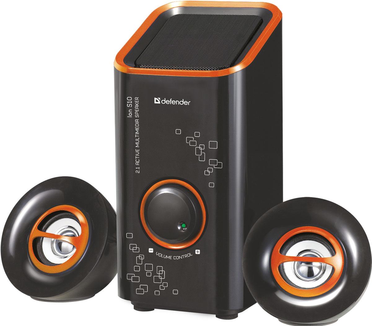 Defender ION S10, Black акустическая система 2.1ION S10, BlackDefender ION S10 - компактная акустическая система 2.1. Компактные размеры Акустическая система займет минимум места на рабочем столе. Регулятор громкости Регулятор громкости расположен на передней панели сабвуфера. Вам больше не придется переключаться на управление вашим медиаплеером, чтобы изменить громкость. Магнитная экранировка Четкая картинка без помех гарантирована даже при расположении колонок в непосредственной близости от монитора.