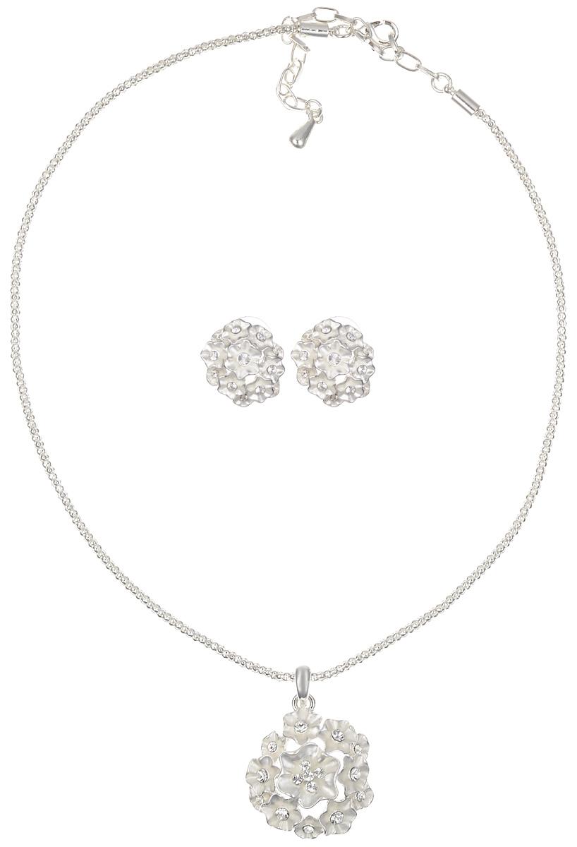 Комплект украшений Fashion House: колье, серьги, цвет: серебристый, белый. FH24557