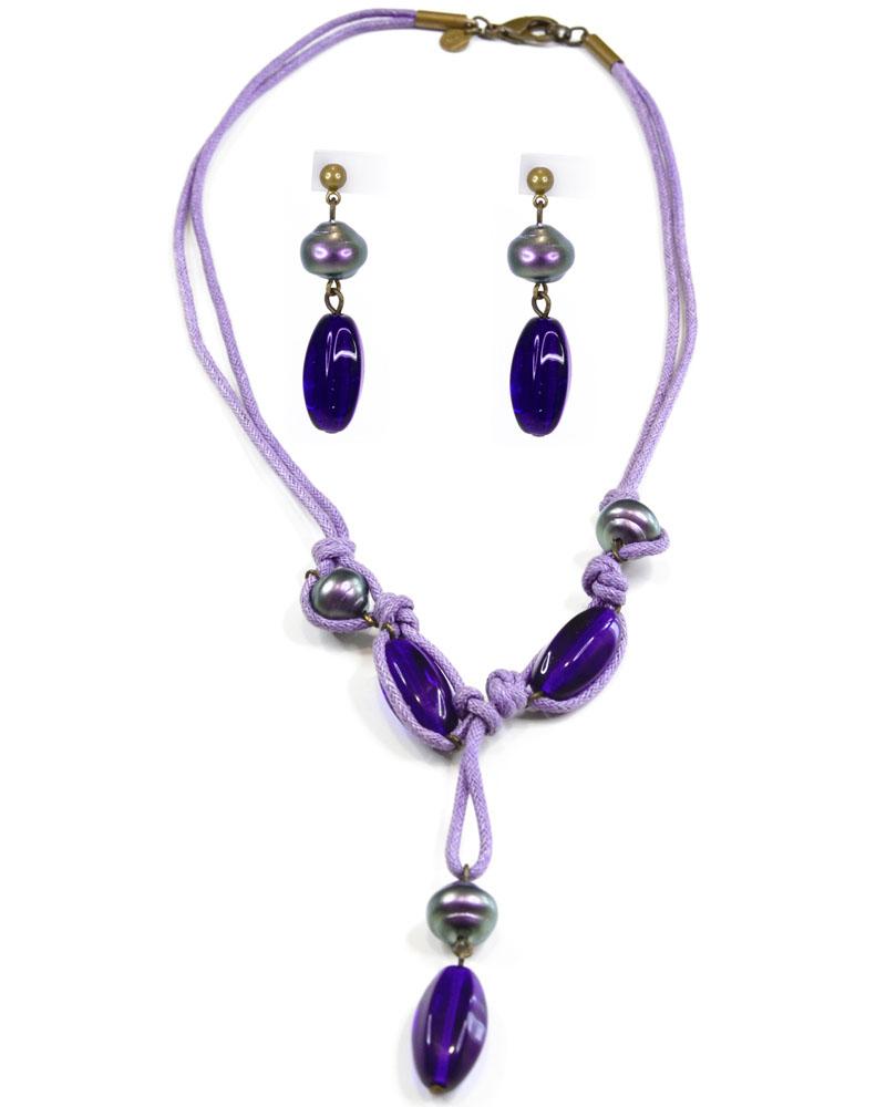 Бусы,серьги Bohemia Style, цвет: сине-фиолетовый, текстиль. 0211 0398 01