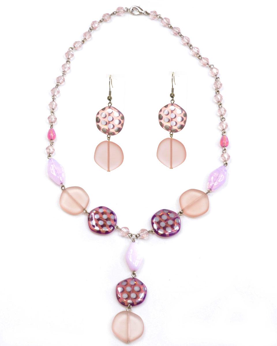 Бусы,серьги Bohemia Style, цвет: розовый матовый с напылением. 1248 4181 072