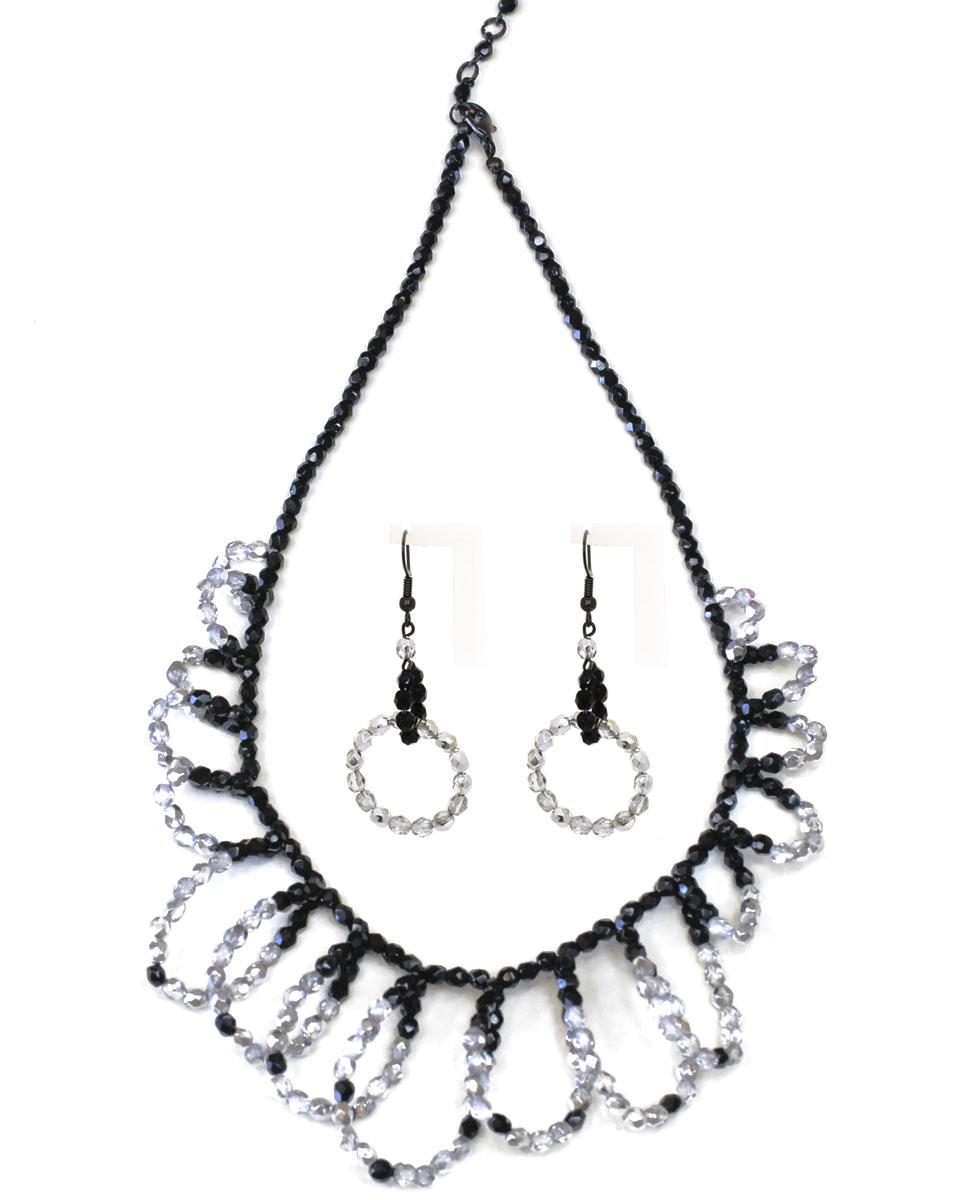 Бусы,серьги Bohemia Style, цвет: черный, серебристый. 1248 5141 00