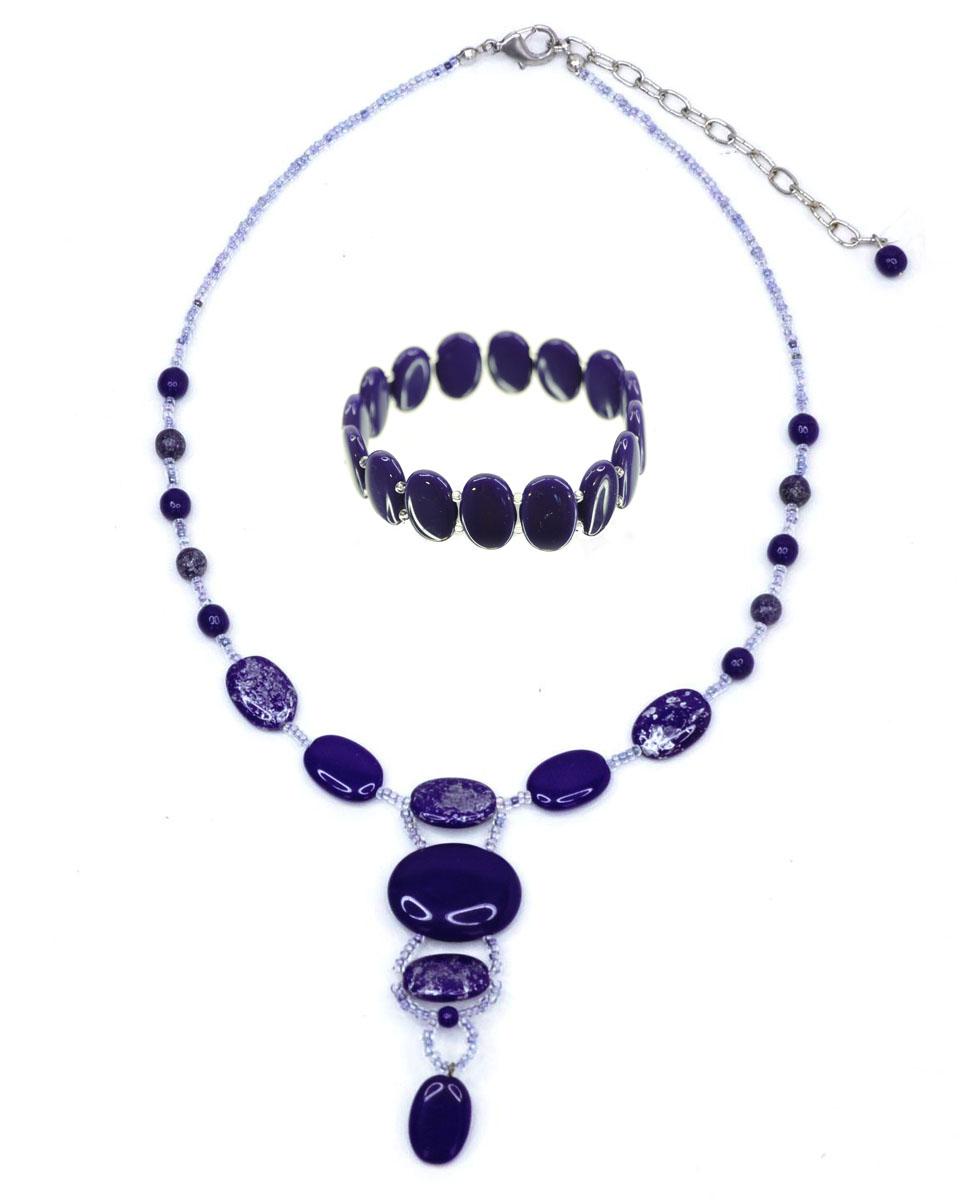 Комплект украшений Bohemia Style: колье, браслет, цвет: синий, серебряный. 1258 9628 33