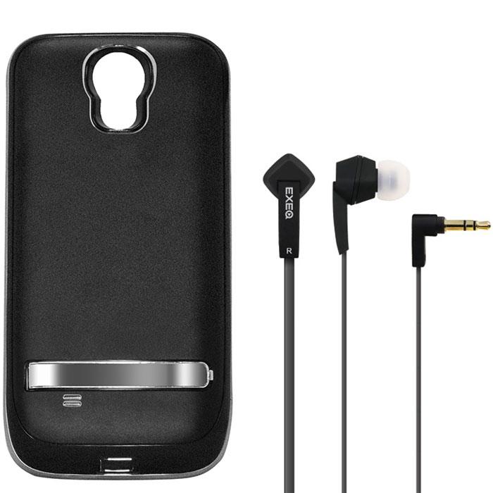 EXEQ HelpinG-SC07 чехол-аккумулятор для Samsung Galaxy S4, Black (2600 мАч, клип-кейс)HelpinG-SC07 BLExeq HelpinG-SС07 – стильный и надежный аксессуар для Samsung Galaxy S4. Компактные размеры, элегантный дизайн и прочный материал корпуса позволят Exeq HelpinG-SС07 не только надежно защитит смартфон от ударов, грязи и царапин, но придадут телефону стильный внешний вид! Встроенный аккумулятор емкостью в 2600 мАч обеспечит смартфон своевременной подзарядкой в самые нужные моменты его использования. Специальная металлическая выдвижная подставка позволит удобно расположить телефон при просмотре видео, общении по Skype, чтении книг. Заряжать телефон можно не извлекая его из чехла, просто подключив адаптер смартфона к чехлу-аккумулятору и нажав кнопку питания на чехле (если кнопку не нажимать, то будет происходить зарядка аккумулятора чехла). Также Exeq HelpinG-SС07 обеспечивает идеальную передачу данных при подключении смартфона к компьютеру или другому электронному устройству. В комплект также входят высококачественные наушники Exeq HPC-002 с плоским...