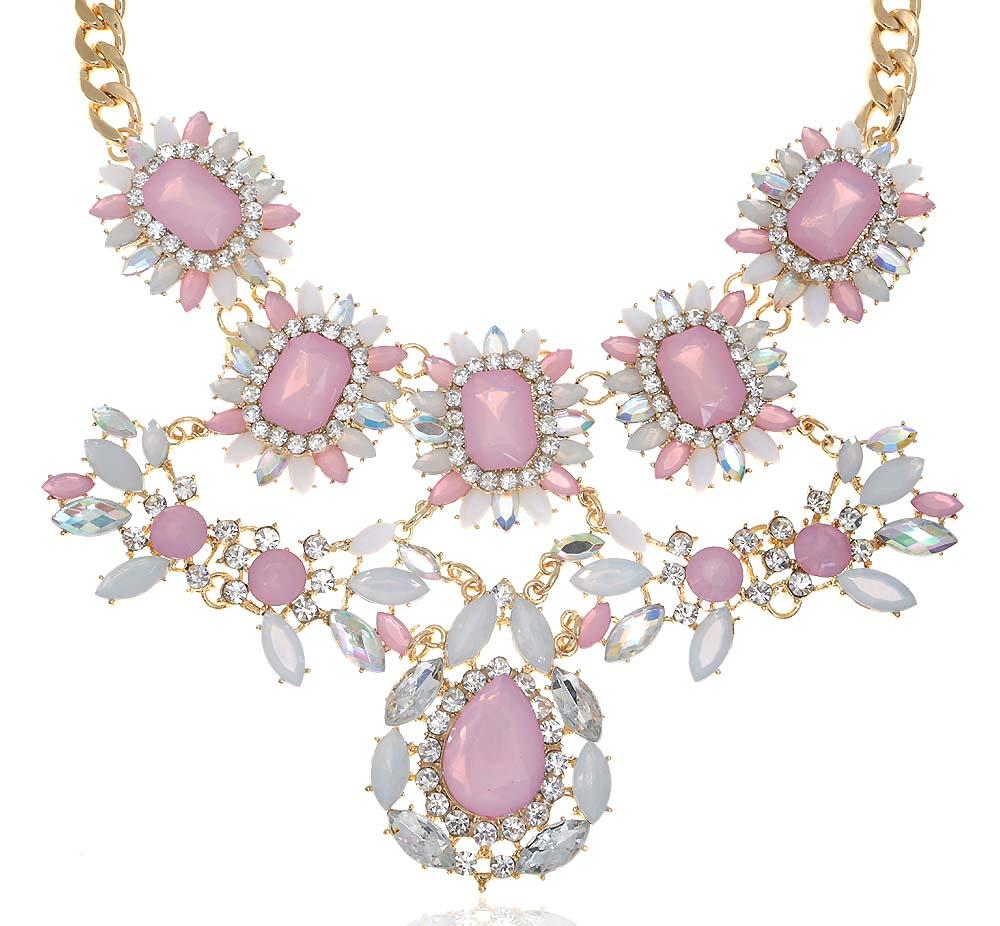 """Ожерелье """"Иоланта"""" от Arrina. Кристаллы Aurora Borealis, опаловое стекло нежно-розового цвета, прозрачные стразы, бижутерный сплав"""