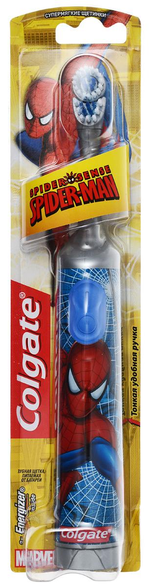 Colgate Зубная щетка Spider-Man, электрическая, с мягкой щетиной, цвет: серый, синийFCN10038_серый, синийColgate Spider-Man - детская электрическая зубная щетка с мягкой щетиной. Маленькая вибрирующая головка с очень мягкими щетинками очищает детские зубы и бережно удаляет налет. Она идеально подходит для развития навыков гигиены полости рта, а благодаря яркому, привлекательному дизайну ежедневная чистка зубов станет удовольствием для вашего ребенка. Эргономичная ручка не скользит в ладони, амортизирует давление руки на нежную поверхность десен. Разноуровневые щетинки тщательно очищают как маленькие, так и большие зубы. Зубная щетка работает от двух батареек типа ААА. Батарейки в комплекте. Товар сертифицирован.