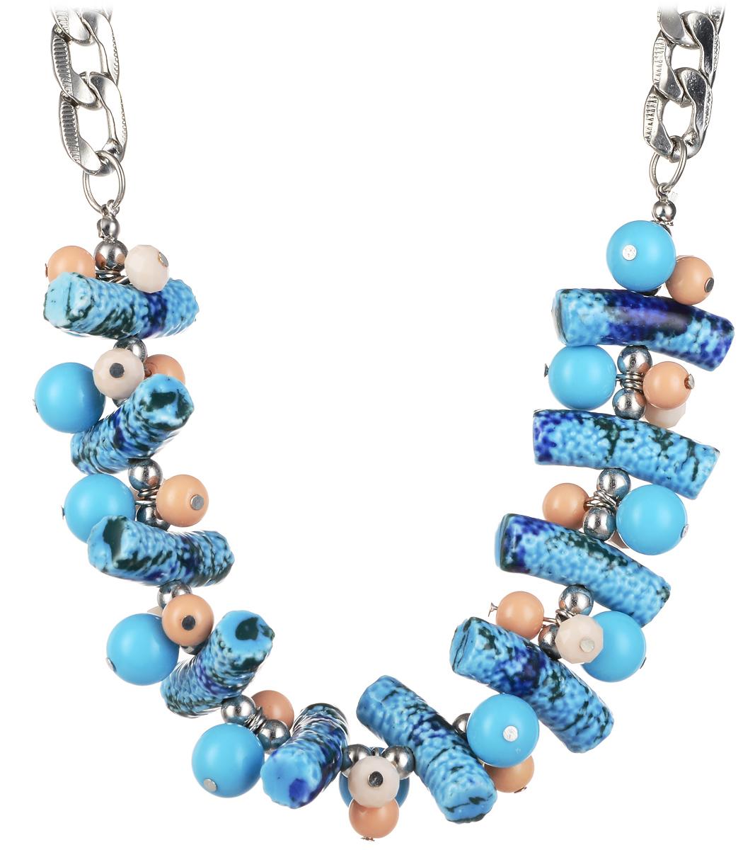 Колье Taya, цвет: голубой, серебристый. T-B-10180