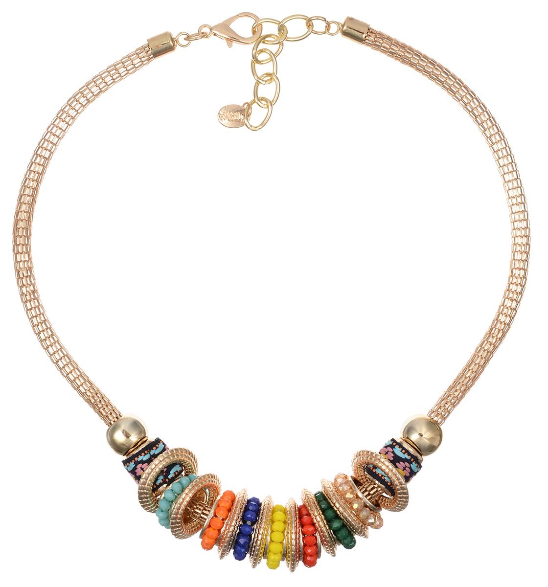 Колье Taya, цвет: мультиколор, золотистый. T-B-10121T-B-10121-NECK-MULTIОригинальное колье Taya будет потрясающе смотреться на шее своей обладательницы. Изделие выполнено из металлического сплава в виде цепочки оригинального плетения, на которой свободно перемещаются объемные круглые золотистые кольца, сплетенные из бисера подвески и металлические элементы, украшенные тесьмой. Прелесть этого украшения в том, что любую деталь можно снять и расположить в нужном только вам порядке. Можно даже оставить одно кольцо и носить колье как амулет. Колье застегивается на застежку-карабин с регулирующей длину цепочкой. Такое украшений поможет вам создать уникальный и запоминающийся образ и позволит выделиться среди окружающих.