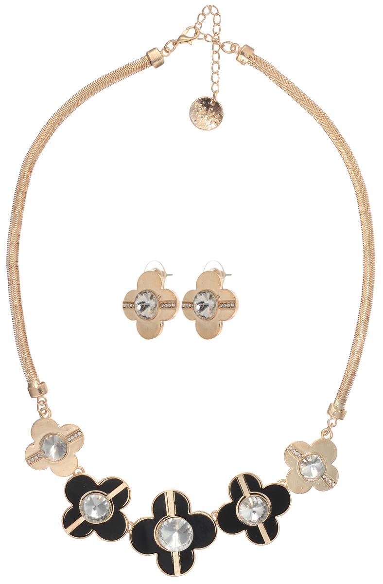 Комплект украшений Taya: колье, серьги, цвет: золотистый, черный. T-B-10246 ( T-B-10246-SET-GL.BLACK )