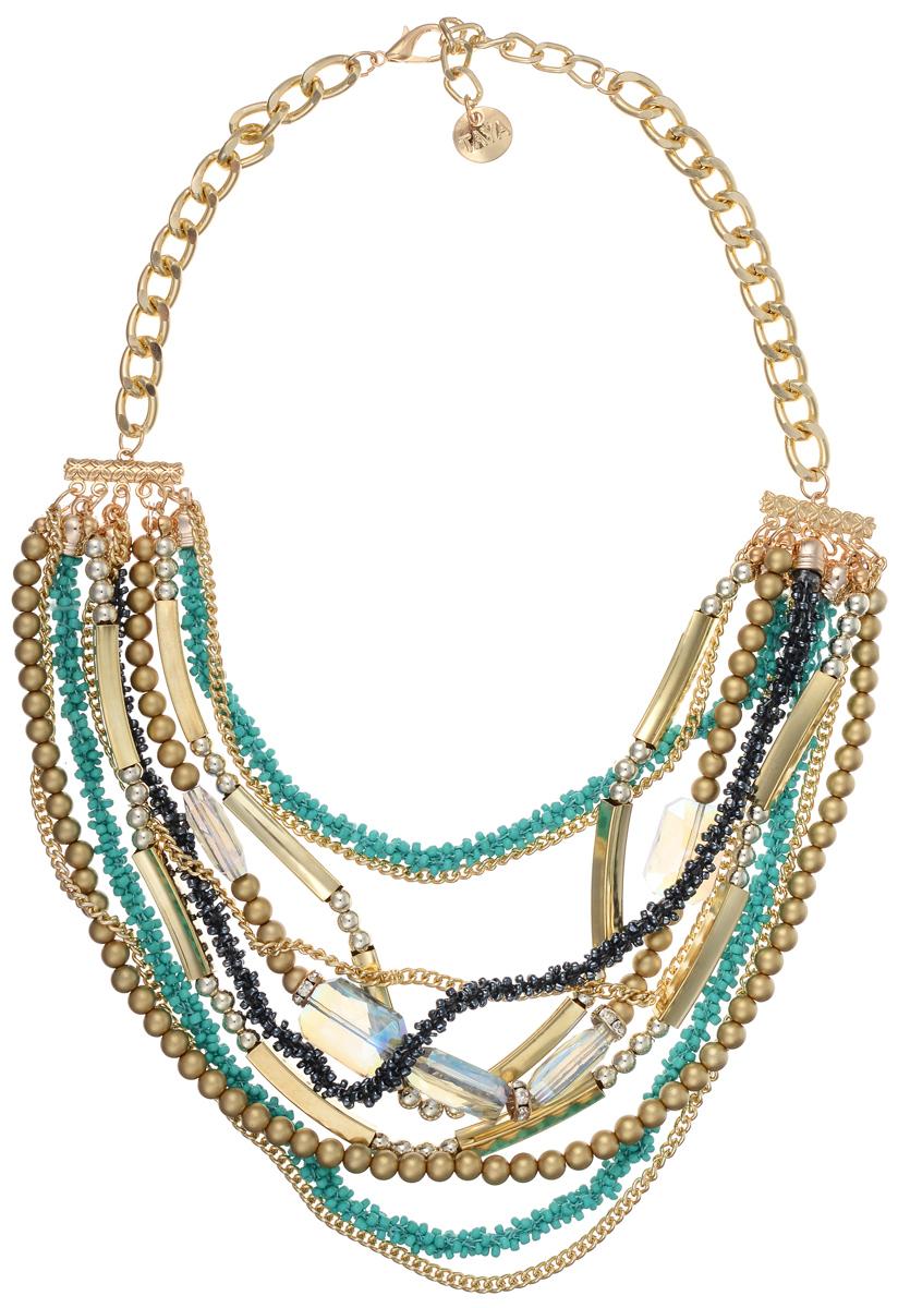 Колье Taya, цвет: золотистый, зеленый. T-B-10199T-B-10199-NECK-GL.GREENОригинальное колье Taya будет потрясающе смотреться на шее своей обладательницы. На цепочке с крупными звеньями из металлического сплава с помощью специальной золотой пластины с выделкой, прикреплены многочисленные ряды цепей, бус из бисера и различными декоративными элементами из стекла и металла. Колье застегивается на застежку-карабин с регулирующей длину цепочкой. Такое украшений поможет вам создать уникальный и запоминающийся образ и позволит выделиться среди окружающих.