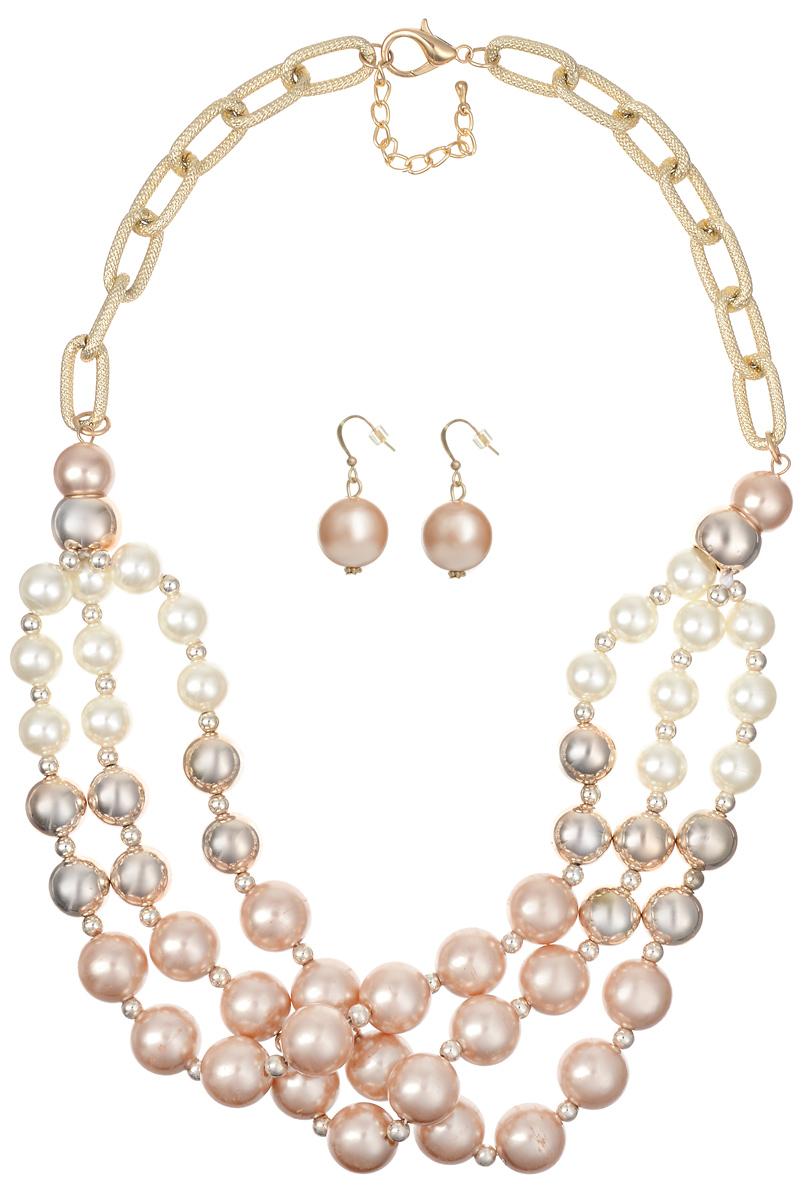 Комплект украшений Taya: колье, серьги, цвет: золотистый, белый. T-B-10154