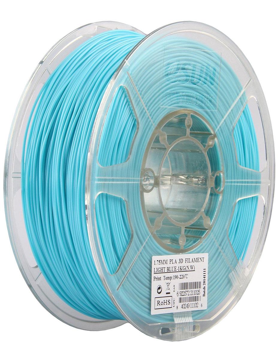 ESUN PLA-пластик в катушке, Light Blue (PLA175D1)PLA175D1Пластик PLA от ESUN долговечный и очень прочный полимер, ударопрочный, эластичный и стойкий к моющим средствам и щелочам. Один из лучших материалов для печати на 3D принтере. Пластик не имеет запаха и не является токсичным. Температура плавления 190-220°C. PLA пластик для 3D-принтера применяется в деталях автомобилей, канцелярских изделиях, корпусах бытовой техники, мебели, сантехники, а также в производстве игрушек, сувениров, спортивного инвентаря, деталей оружия, медицинского оборудования и прочего. Диаметр нити: 1.75 мм