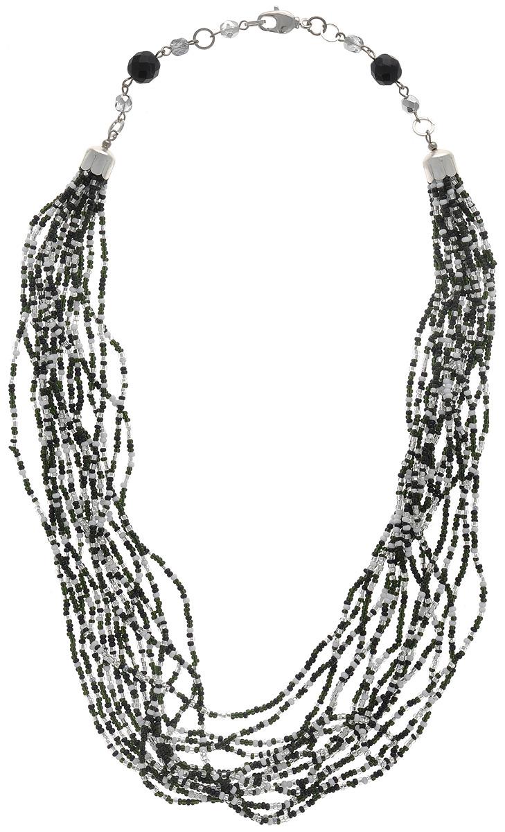 """Кузьмина Ольга Бусы """"Beads"""" (бисер), цвет: черный, белый, серебряный. Ручная авторская работа. ВВ6"""