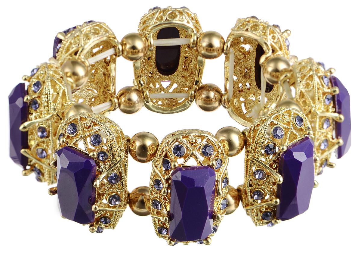 Браслет Taya, цвет: золотистый, пурпурный. T-B-7402T-B-7402-BRAC-GL.PURPLEСтильный браслет Taya выполнен из бижутерийного сплава. Элементы оригинальной формы оформлены вставками граненых камней и сияющих стразов. Благодаря эластичной основе и подвижным элементам изделие идеально разместиться на запястье. Такой браслет позволит вам с легкостью воплотить самую смелую фантазию и создать собственный, неповторимый образ.