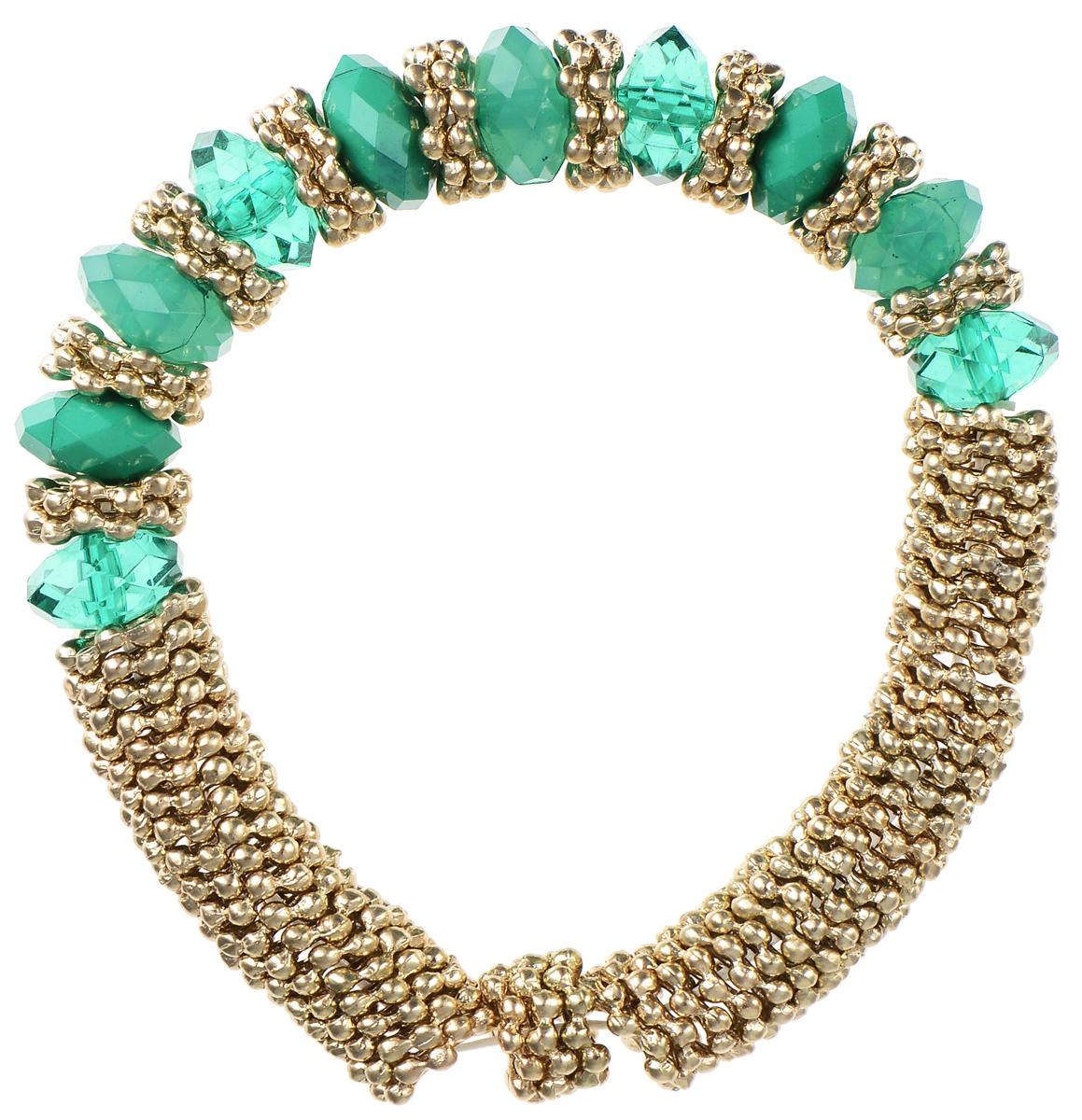Браслет Taya, цвет: золотистый, зеленый. T-B-5542T-B-5542Стильный браслет Taya выполнен из бижутерийного сплава и пластика. Элементы в форме снежинок и граненые бусины собраны на эластичной резинке. Благодаря эластичной основе и подвижным элементам изделие идеально разместиться на запястье. Такой браслет позволит вам с легкостью воплотить самую смелую фантазию и создать собственный, неповторимый образ.