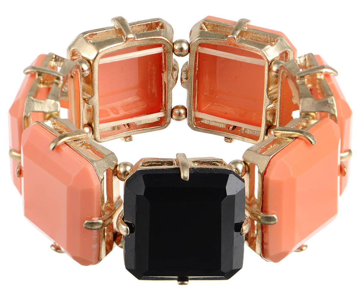 Браслет Taya, цвет: коралловый, черный. T-B-2552T-B-2552-BRACELET-CORALСтильный браслет Taya выполнен из бижутерийного сплава. Элементы квадратной формы оформлены вставками граненых камней из пластика. Благодаря эластичной основе и подвижным элементам изделие идеально разместиться на запястье. Такой браслет позволит вам с легкостью воплотить самую смелую фантазию и создать собственный, неповторимый образ.