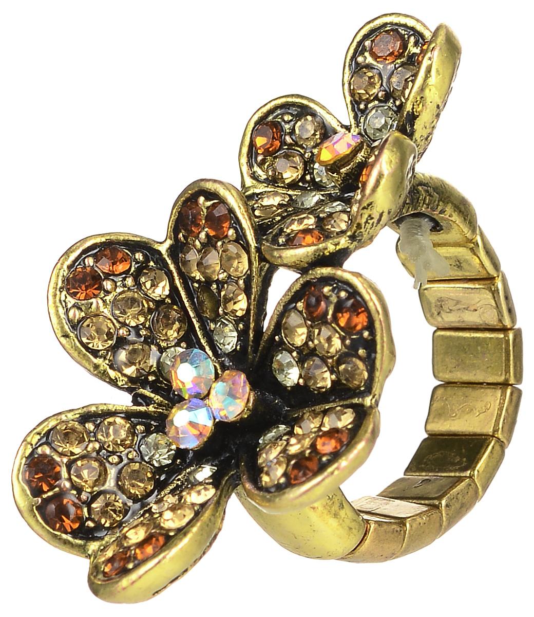 Кольцо Taya, цвет: золотистый, желтый. T-B-7328T-B-7328-RING-GOLDКольцо Taya выполнено из бижутерийного сплава и оформлено элементом в виде двух листочков клевера, которые дополнены стразами. Эластичная резинка, которая дополняет основание изделия, делает размер кольца универсальным. Элегантное кольцо Taya выгодно подчеркнет изящество, женственность и красоту своей обладательницы.