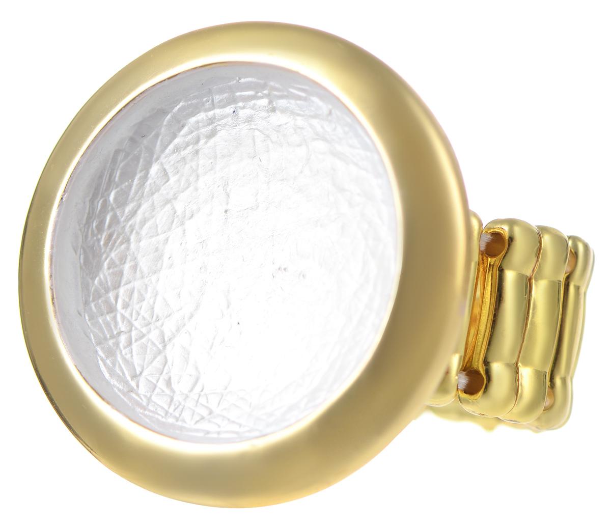 Кольцо Модные истории, цвет: золотой. 17/003317/0033Оригинальное кольцо Модные истории выполнено из бижутерийного сплава с гальваническим покрытием золотом. Изделие дополнено элементом в виде круга с вогнутым дном. В основе кольца использована эластичная резинка. Стильное кольцо придаст вашему образу изюминку, подчеркнет индивидуальность.