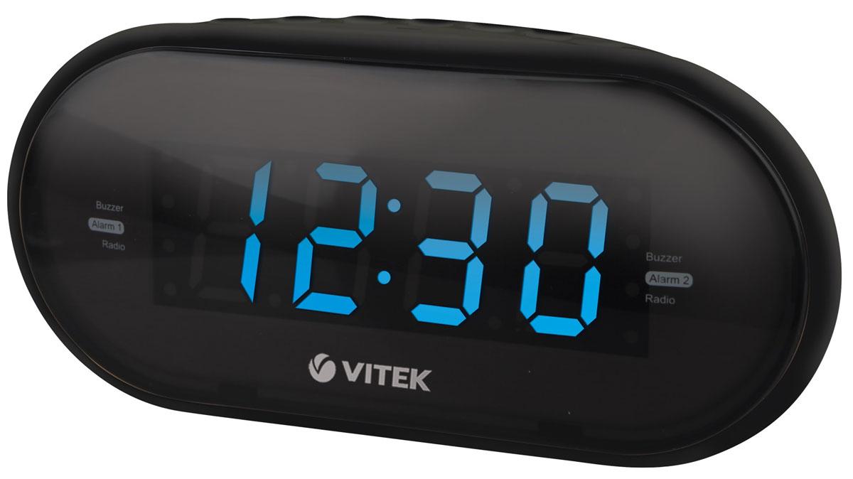 Vitek VT-6602(BK) радиочасыVT-6602(BK)Vitek VT-6602(BK) - оптимальный вариант для тех, кто не любит обилие разной техники в доме. Ведь данное устройство является не только часами, которые показывают время на электронном табло. Оно совмещают в себе функцию будильника и радиоприемника. Встроенный цифровой тюнер поддреживает диапазоны FM и AM. Радиочасы также имеют крупный 1,2-дюймовы дисплей. Из дополнительных функций можно выделить возможность сохранения настроек 10 радиостанций в обоих диапазонах, двойной будильник и режим короткого сна. Резервное питание: 2 батарейки типа ААА (не входят в комплект)