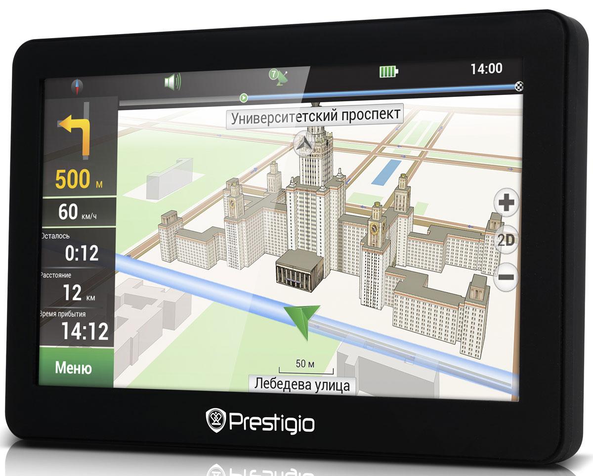 Prestigio GeoVision 5056 навигаторPGPS5056CIS04GBNVPrestigio GeoVision 5056 — удобный и доступный навигатор с 5-дюймовым экраном и надежным программным обеспечением от Navitel. 3D-карты, голосовое сопровождение и база данных объектов (POI) обеспечивают безопасную и простую навигацию. С этим стильным многофункциональным устройством ваше путешествие станет интереснее, а дорога — короче. Безупречная Навигация от Navitel: Навигационное программное обеспечение Navitel с отличной 3D-графикой: благодаря трехмерной визуализации зданий и достопримечательностей навигация стала еще проще. База данных объектов POI: В навигаторе GeoVision 5056 установлена база из миллионов объектов (POI), которая позволяет находить интересные и полезные объекты и добавлять те, что встретятся по пути: АЗС, гостиницы, магазины, банкоматы, туристические достопримечательности и многое другое. Высокая производительность: Процессор Mstar с частотой 800 МГц раскрывает мультимедийные возможности устройства:...