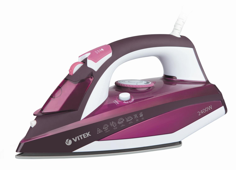 Vitek VT-1215(PK) утюгVT-1215(PK)Утюг. VITEK 1215(PK) аксимальная мощность 2400 Вт.Подошва Ceramic Ultra Care.