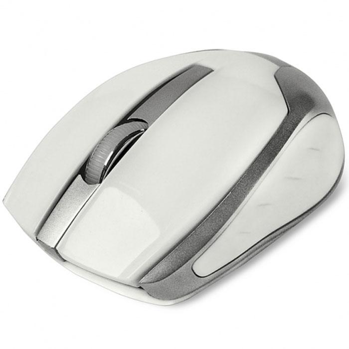 CBR CM 422, White мышь беспроводнаяCM 422 WhiteCBR CM 422 - это яркая представительница в линейке беспроводных мышей. Среднеразмерный корпус выполнен из глянцевого пластика с вставками металлик. Благодаря симметричному корпусу, устройство подойдет как для правшей, так и для левшей. Особенностью этой модели является сочетание серьезного оптического сенсора 1600 dpi, обеспечивающего высокую точность позиционирования курсора, и длительного срока работы батареи. Оптимизированное энергопотребление позволяет одной батарейке прослужить до 36 месяцев. Это расчетная величина для источника питания с емкостью не менее 2700 мА/ч. Мышь подключается к компьютеру при помощи USB-адаптера, входящего в комплект, использует рабочую частоту 2,4 МГц с эффективным рабочим радиусом до 10 м.
