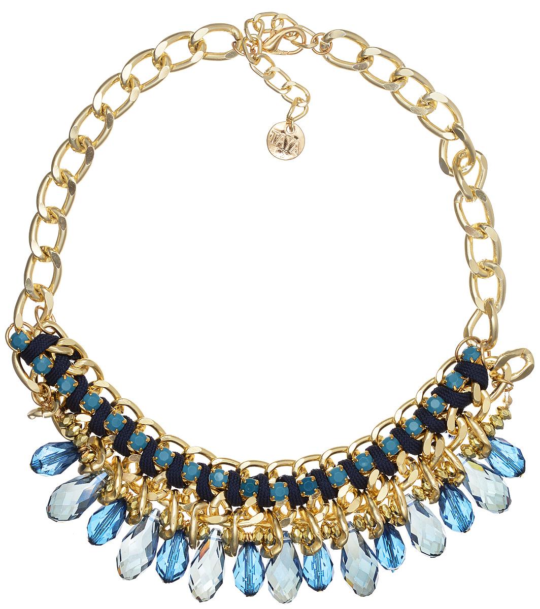 Колье Taya, цвет: золотистый, голубой, синий. T-B-9580T-B-9580-NECK-GL.D.BLUEЭлегантное колье Taya выполнено из текстиля и бижутерийного сплава, центральная часть оформлена гранеными каплевидными камнями из стекла, стразами, оплетенными шнуром, и бусинами. Колье застегивается на практичный замок-карабин, длина изделия регулируется за счет дополнительных звеньев. Колье Taya выгодно подчеркнет изящество, женственность и красоту своей обладательницы.
