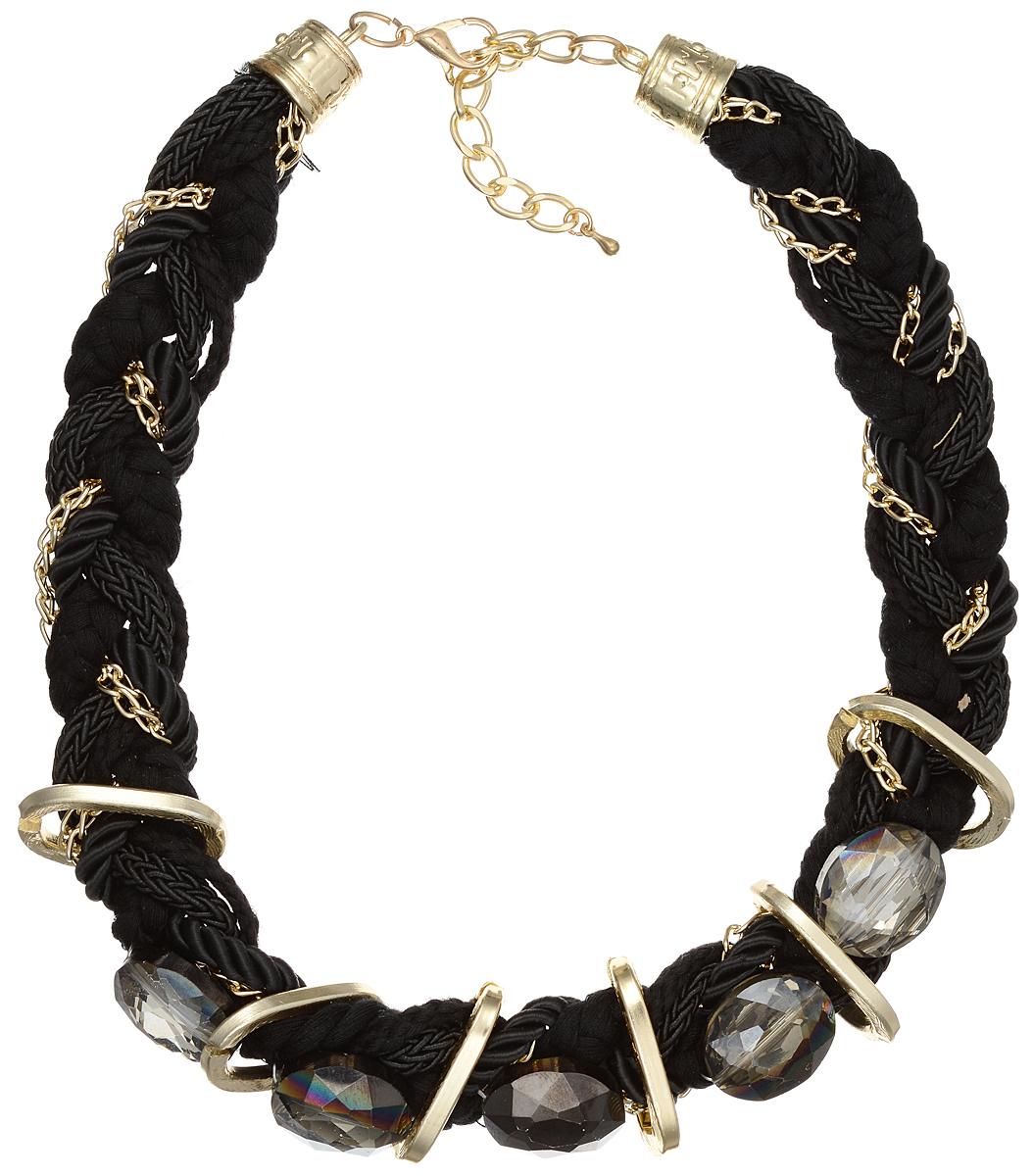 Колье Taya, цвет: черный, золотой. T-B-9026T-B-9026-NECK-BLACKЭлегантное колье Taya выполнено из текстиля и бижутерийного сплава, сплетенных в косичку. Центральная часть оформлена гранеными стеклянными камнями. Колье застегивается на практичный замок-карабин, длина изделия регулируется за счет дополнительных звеньев. Колье Taya выгодно подчеркнет изящество, женственность и красоту своей обладательницы.