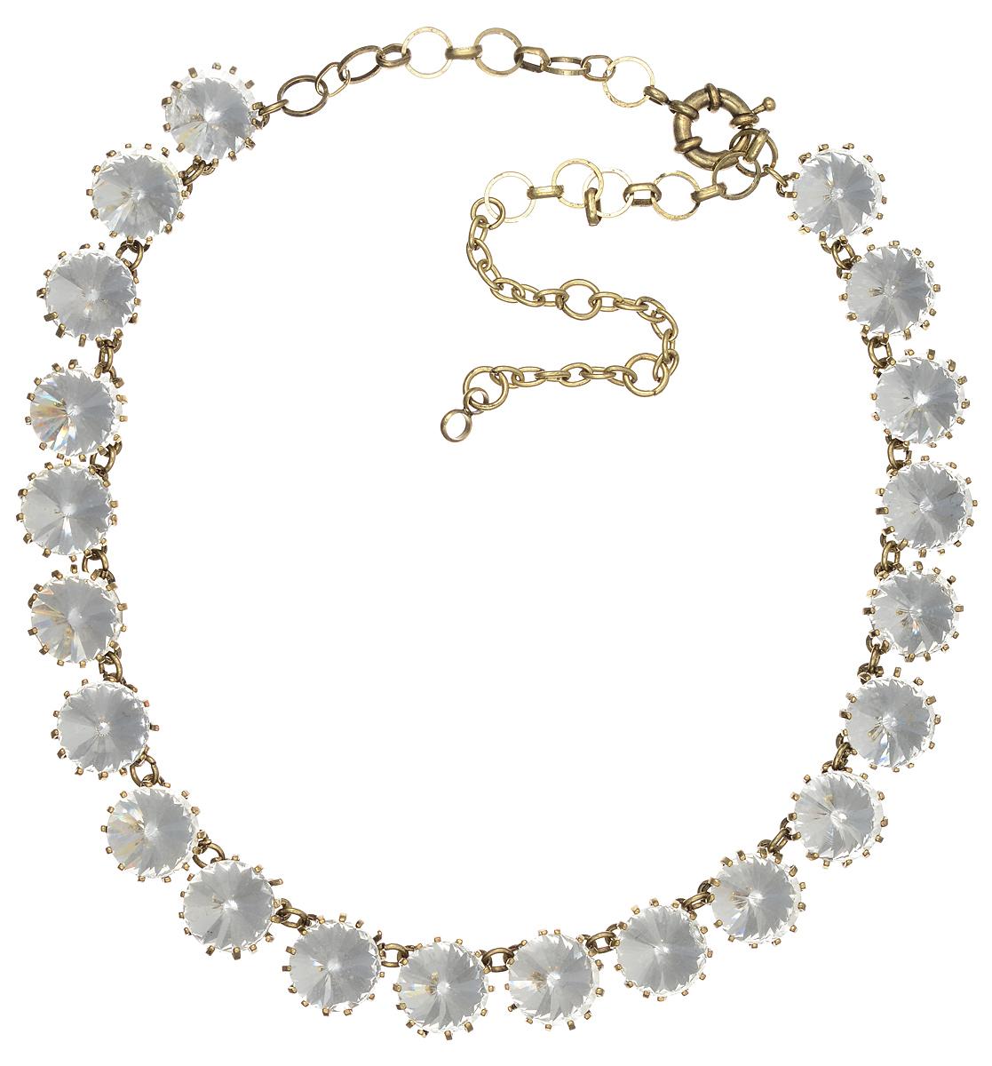 Ожерелье Taya, цвет: золотистый, белый. T-B-7665T-B-7665-NECK-GL.WHITEЭлегантное ожерелье Taya выполнено из бижутерийного сплава. Изделие оформлено стразами из стекла. Ожерелье застегивается на практичный замок-карабин, длина изделия регулируется за счет дополнительных звеньев. Ожерелье Taya выгодно подчеркнет изящество, женственность и красоту своей обладательницы.