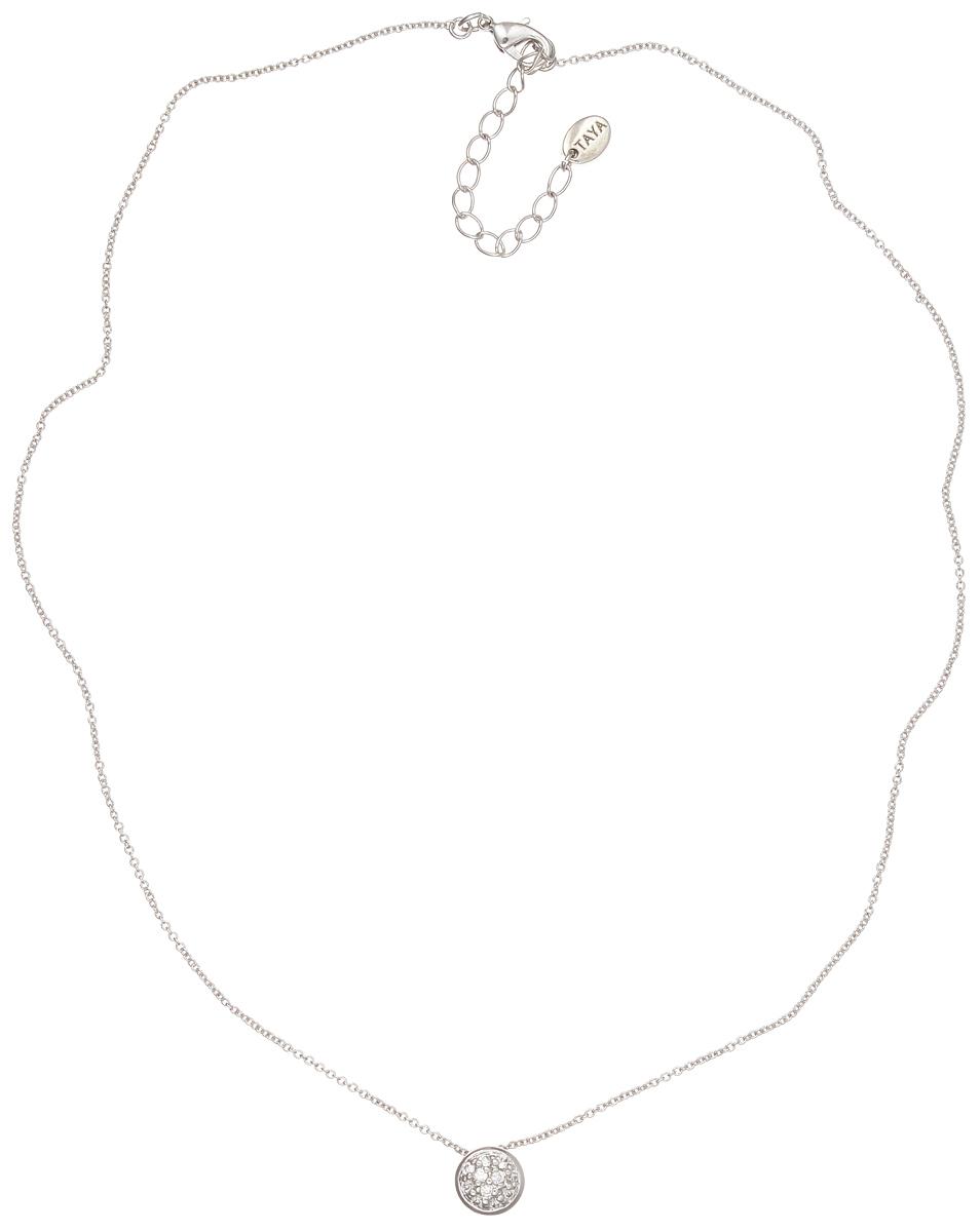 Колье Taya, цвет: серебристый. T-B-4804T-B-4804-NECK-RHODIUMЭлегантное колье Taya выполнено из бижутерийного сплава с гальваническим покрытием родием. Колье дополнено подвеской оригинальной формы, которая оформлена цирконами. Колье застегивается на практичный замок-карабин, длина изделия регулируется за счет дополнительных звеньев. Колье Taya выгодно подчеркнет изящество, женственность и красоту своей обладательницы.