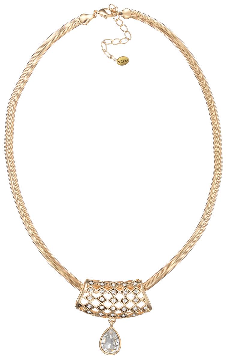 Колье Taya, цвет: золотой. T-B-7028T-B-7028-NECK-GL.WHITEЭлегантное колье Taya выполнено из бижутерийного сплава в виде цепочки с кулоном. Кулон оформлен стразами из стекла и каплевидной подвеской с крупным граненым камнем. Колье застегивается на практичный замок-карабин, длина изделия регулируется за счет дополнительных звеньев. Колье Taya выгодно подчеркнет изящество, женственность и красоту своей обладательницы.