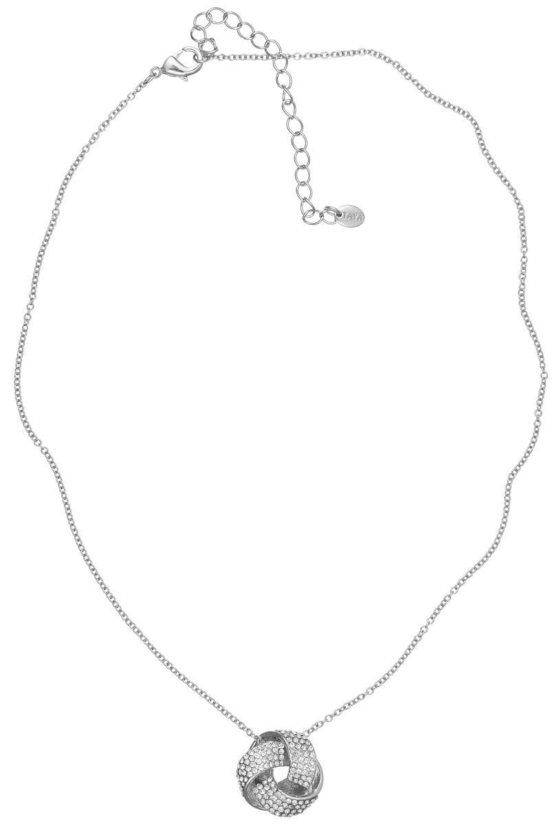 Колье Taya, цвет: серебристый. T-B-5736T-B-5736-NECK-RHODIUMЭлегантное колье Taya выполнено из бижутерийного сплава. Колье дополнено подвеской оригинальной формы, которая оформлена стеклянными стразами. Колье застегивается на практичный замок-карабин, длина изделия регулируется за счет дополнительных звеньев. Колье Taya выгодно подчеркнет изящество, женственность и красоту своей обладательницы.
