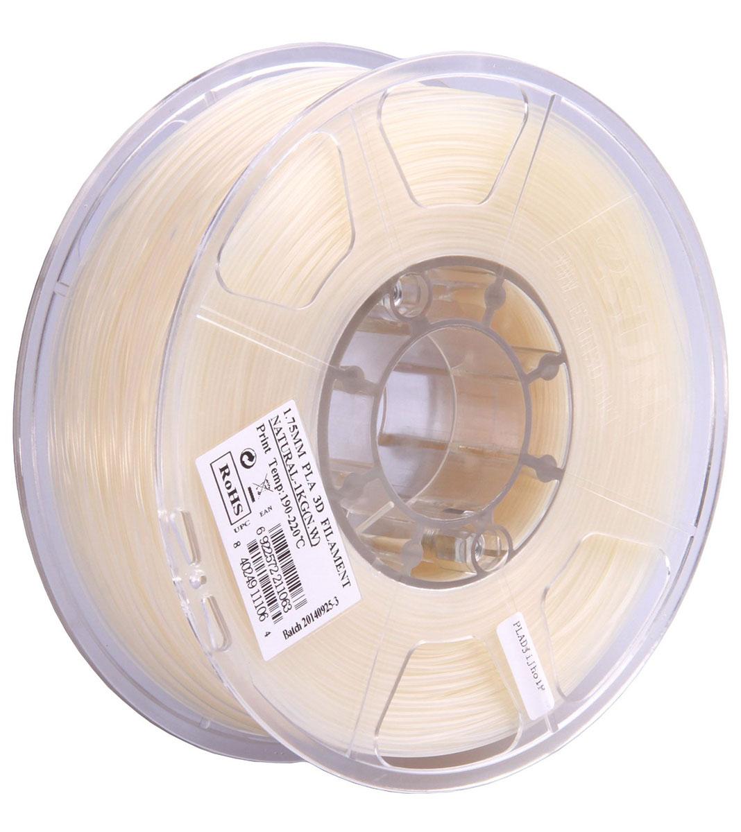 ESUN PLA-пластик в катушке, White (PLA175N1)PLA175N1Пластик PLA от ESUN долговечный и очень прочный полимер, ударопрочный, эластичный и стойкий к моющим средствам и щелочам. Один из лучших материалов для печати на 3D принтере. Пластик не имеет запаха и не является токсичным. Температура плавления 190-220°C. PLA пластик для 3D-принтера применяется в деталях автомобилей, канцелярских изделиях, корпусах бытовой техники, мебели, сантехники, а также в производстве игрушек, сувениров, спортивного инвентаря, деталей оружия, медицинского оборудования и прочего. Диаметр нити: 1.75 мм