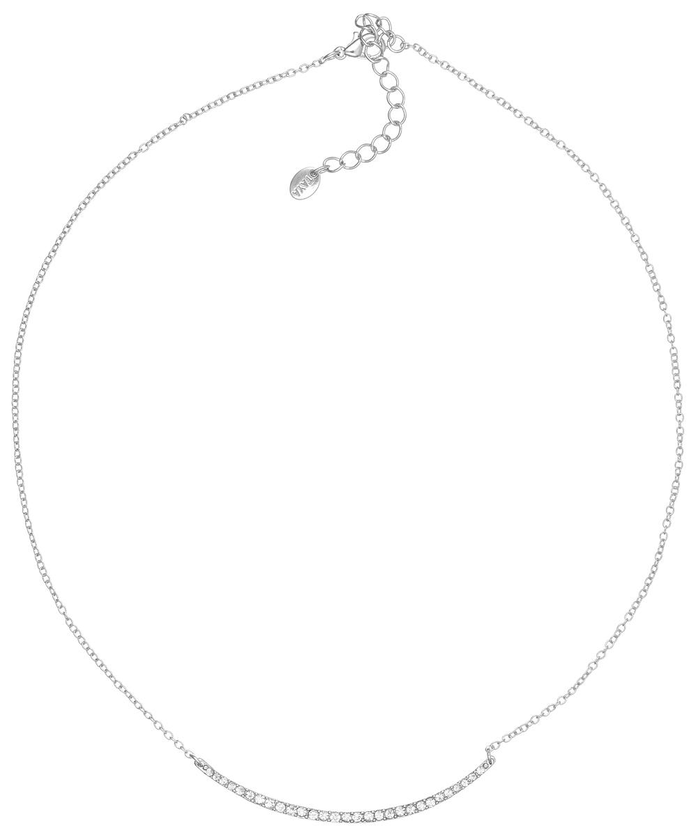 Колье Taya, цвет: серебристый. T-B-5106T-B-5106-NECK-SILVERЭлегантное колье Taya выполнено из бижутерийного сплава. Колье дополнено подвеской дугообразной формы, которая оформлена стеклянными стразами. Колье застегивается на практичный замок-карабин, длина изделия регулируется за счет дополнительных звеньев. Колье Taya выгодно подчеркнет изящество, женственность и красоту своей обладательницы.