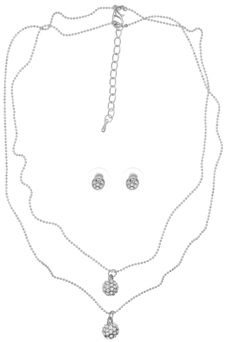 Комплект украшений Taya: колье, серьги, цвет: серебристый. T-B-5709 ( T-B-5709-NECK-RHODIUM )