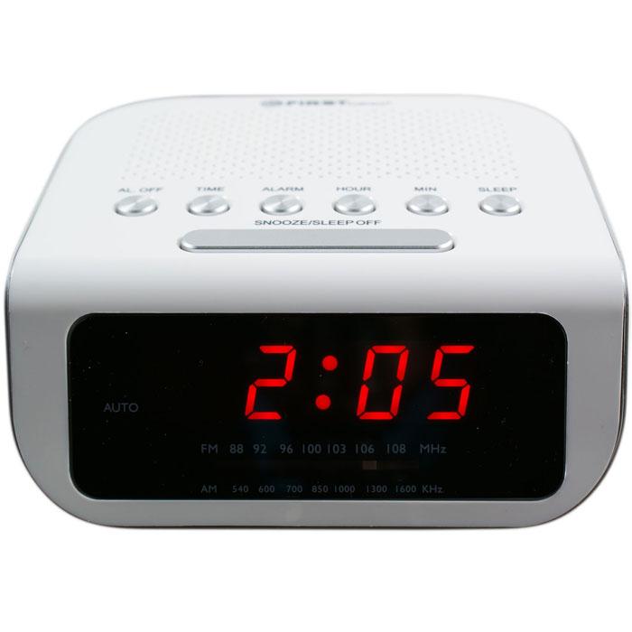 First FA-2406-1, White радиочасыFA-2406-1 WhiteFirst FA-2406-1 - радиочасы с LED-дисплеем диагональю 0,6 дюйма. Устройство имеет кварцевый стабилизатор, а также дополнительные функции: подъем под музыку или звонок, отключение музыки. Вы также можете активировать отложенный сигнал чтобы поспать еще немного времени. Будильник отключится и прозвенит через 9 минут. Резервное питание: 3 батарейки CR2025 (в комплект не входит)
