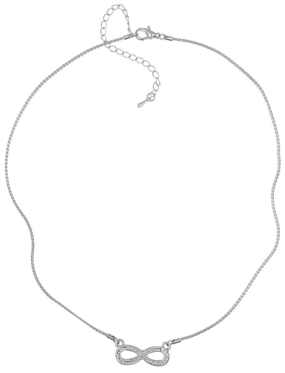 Колье Taya, цвет: серебристый. T-B-6166T-B-6166-NECK-SILVERЭлегантное колье Taya выполнено из бижутерийного сплава. Колье дополнено подвеской в виде символа бесконечности, которая оформлена стеклянными стразами. Колье застегивается на практичный замок-карабин, длина изделия регулируется за счет дополнительных звеньев. Колье Taya выгодно подчеркнет изящество, женственность и красоту своей обладательницы.