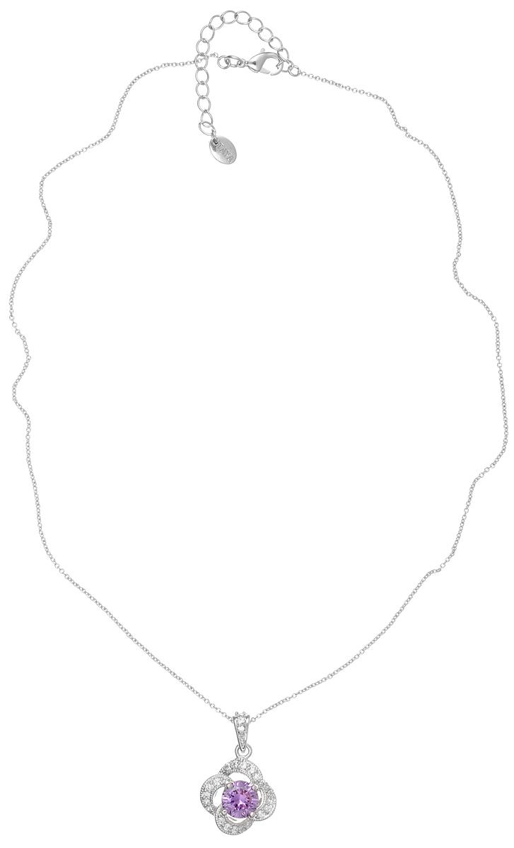 Колье Taya, цвет: серебристый, сиреневый. T-B-4811T-B-4811-NECK-RH.AMETHYSTИзящное колье Taya выполнено из металлического сплава с родиевым покрытием. Колье представляет собой цепочку тонкого плетения с кулоном, оформленным цирконами. Колье имеет надежную застежку-карабин с регулирующей длину цепочкой. Такое колье внесет изюминку в любой образ и подчеркнет индивидуальность.