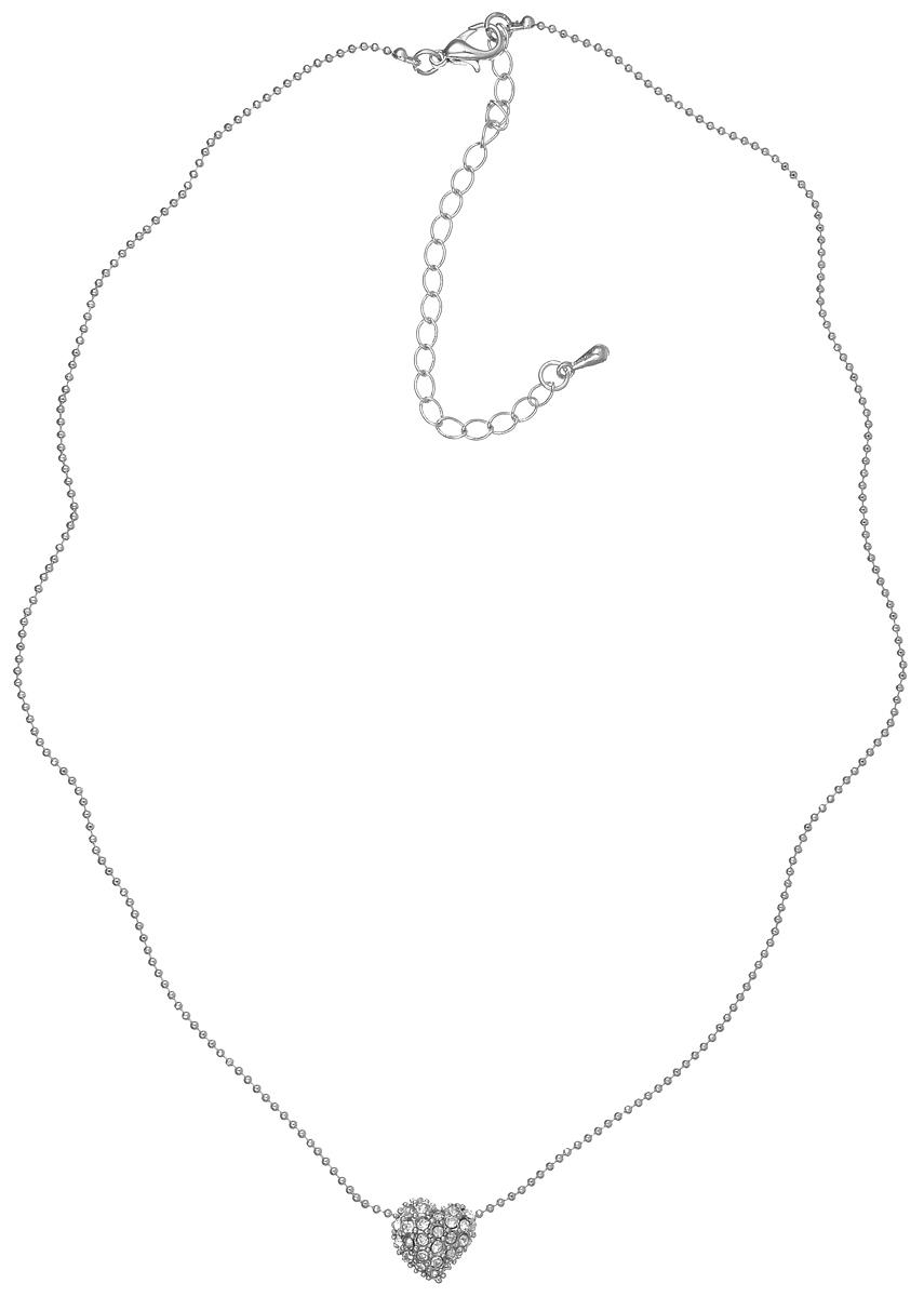 Колье Taya, цвет: серебристый. T-B-6159T-B-6159-NECK-SILVERСтильное колье Taya выполнено из металлического сплава. Колье представляет собой тонкую цепочку с кулоном в виде сердца, оформленным россыпью страз. Колье имеет надежную застежку-карабин с регулирующей длину цепочкой. Такое колье внесет изюминку в любой образ и подчеркнет индивидуальность.