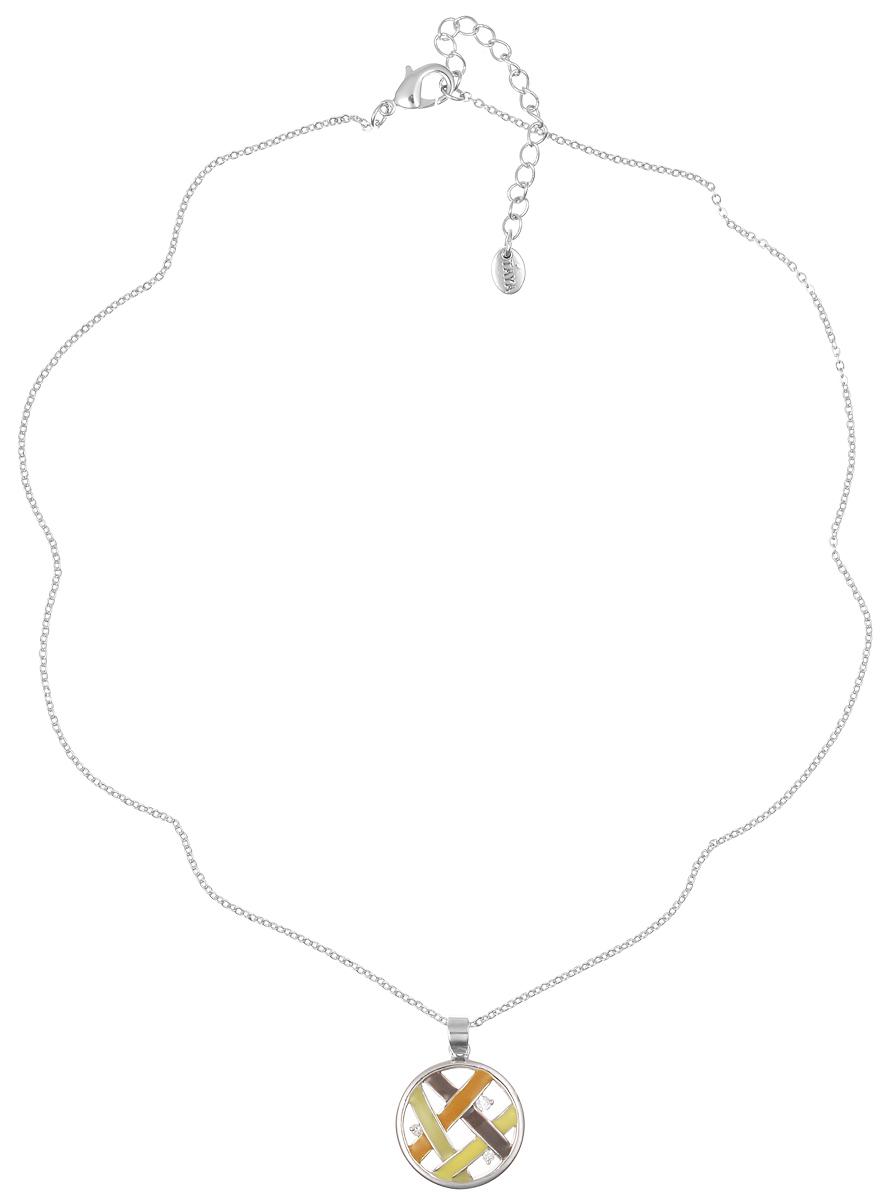 Колье Taya, цвет: серебристый, мультиколор. T-B-4122T-B-4122-NECKLACE-RH.MULTIЭлегантное колье Taya выполнено из бижутерийного сплава с гальваническим покрытием родием. Колье дополнено подвеской круглой формы, которая оформлена цветной эмалью и цирконами. Колье застегивается на практичный замок-карабин, длина изделия регулируется за счет дополнительных звеньев. Колье Taya выгодно подчеркнет изящество, женственность и красоту своей обладательницы.