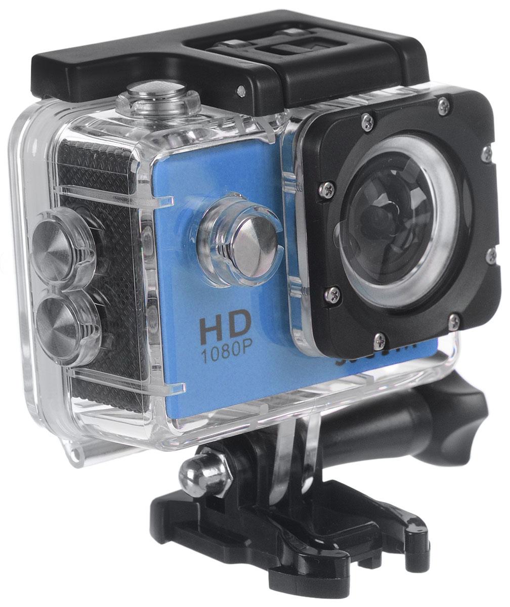 SJCAM SJ4000, Blue экшн-камера00000044947SJCAM SJ4000 - это недорогой и качественный аналог GoPro. С ее помощью можно снимать экстремальные события, закрепив камеру в удобном месте. Вы также можете делать впечатляющие съёмки под водой на глубине до 30 метров благодаря водонепроницаемому боксу в комплекте. Благодаря режиму цейтаоферной съёмки камера SJCAM может сжимать многочасовые события (например, расцветающую розу) до нескольких секунд. Теперь восход солнца после съёмки произойдёт прямо на глазах ваших друзей! SJCAM SJ4000 может быть использована в качестве видеорегистратора благодаря возможности циклической записи. Для этого разместите её на стекле автомобиля с помощью специального крепления и нажмите на кнопку записи. Данную модель можно использовать и в качестве Full HD веб-камеры. Всё, что необходимо сделать - это подключить SJCAM к компьютеру через кабель USB и запустить Skype. Камера SJ4000 подойдёт практически для любых видов спорта. В комплекте вы найдёте...