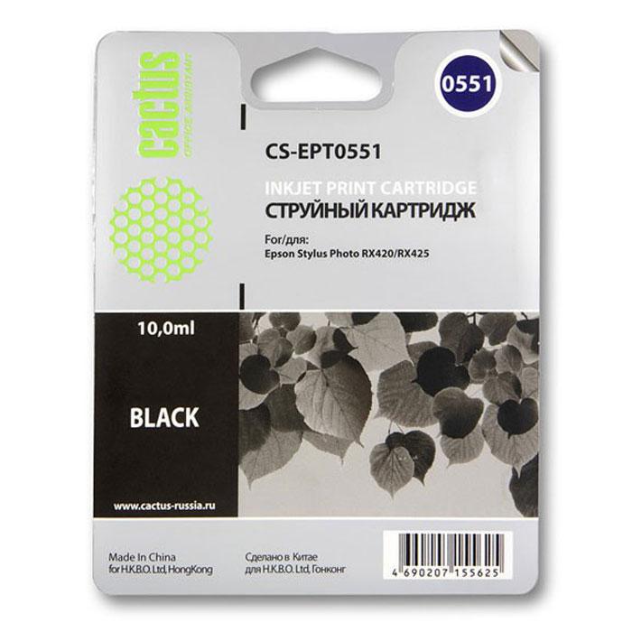 Cactus CS-EPT0551, Black струйный картридж для МФУ Epson Stylus RX520/Stylus Photo R240