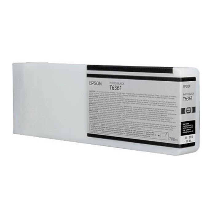 Epson T6361 (C13T636100), Photo Black картридж для Stylus Pro 7900/9900C13T636100Картридж Epson T6361 для Stylus Pro 7900/9900 с черными чернилами предназначен для печати на глянцевых носителях. Он служит для печати превосходных фотоснимков и рассчитан на 700 мл.