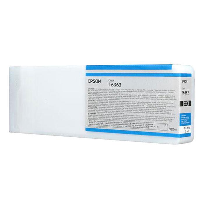 Epson T6362 (C13T636200), Cyan картридж для Stylus Pro 7900/9900C13T636200Картридж Epson T6362 для Stylus Pro 7900/9900 с голубыми чернилами предназначен для печати на глянцевых носителях. Он служит для печати превосходных фотоснимков и рассчитан на 700 мл.